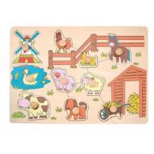 Dřevěné hračky - Puzzle na desce Domácí zvířata u mlýna