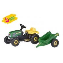 RollyToys Šlapací traktor Rolly Kid s vlečkou - zelený