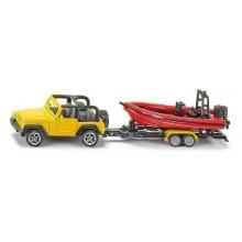 Kovový model auta -SIKU Blister - Jeep se člunem