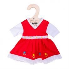 Bigjigs Toys Červené květinové šaty pro panenku 28 cm
