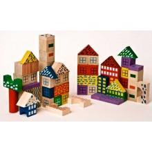 Dřevěné kostky v tubě - Dřevěné kostky 50 vzorované
