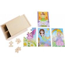 Dřevěné puzzle 4v1 v boxu - pro dívky
