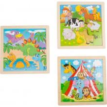 Dřevěné hračky - Puzzle veselá zvířata, sada 3ks