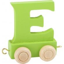 Dřevěný vláček barevná abeceda písmeno E