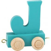 Dřevěný vláček barevná abeceda písmeno J