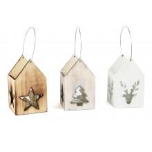 Dřevěné vánoční lucerny 3 ks
