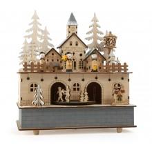 Small Foot Dřevěná hrací skříňka se světlem zimní vesnice