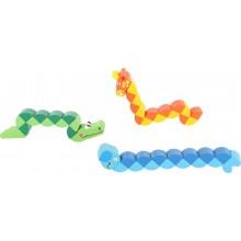 Dřevěné barevné skládací zvířátka 1 ks krokodýl