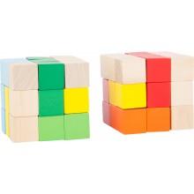 Displej - Dřevěná barevná skládací kostka 1 ks červená