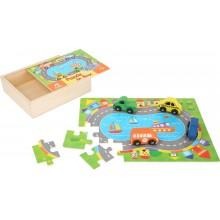 Small Foot Dřevěné puzzle doprava s autíčky 2v1