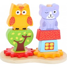 Dřevěné kostky sova a kočka