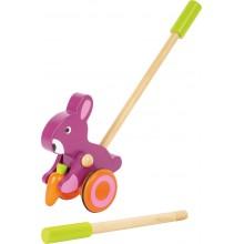 Small Foot Dřevěný jezdík růžový králík s mrkví