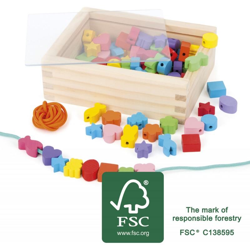 Small Foot Dřevěné navlékací korálky tvary v krabičce