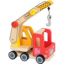 Small Foot Dřevěné auto s jeřábem