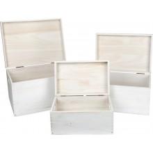 Small Foot Dřevěné uložné truhly s víkem 3ks bílé