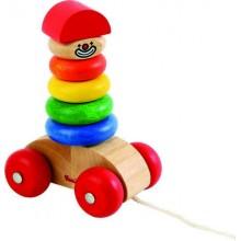 Dřevěné hračky - Klaun na provázku - nasazovací kroužky