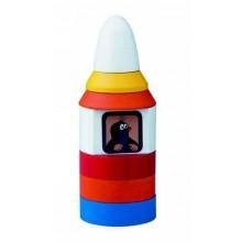 Dřevěné hračky - Motorická hračka - Pyramida Krtek v raketě