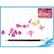 Korálky navlékací dřevěné růžové v krabičce