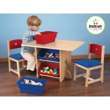 KidKraft dětský stůl Star se dvěma židličkami a boxy