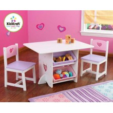 KidKraft Stůl Heart se dvěma židličkami a boxy