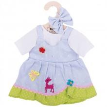 Bigjigs Toys modré puntikované šaty s jelenem pro panenku 35 cm