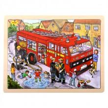 Bigjigs Toys Dřevěné puzzle hasiči 24 dílků