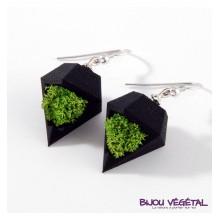 Živé šperky - Náušnice Diamant černé s lišejníkem