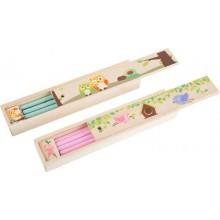 Dřevěné pouzdro s tužkami, strouhátkem a pravítkem -1 balení