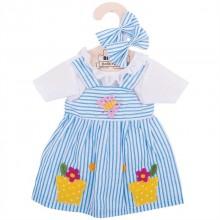 Bigjigs Toys modré pruhované šaty pro panenku 35 cm