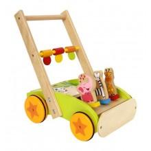 Dřevěné hračky - Chodítko - Didaktický vozík se zvířátky