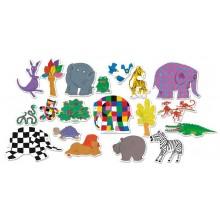 Vilac Dřevěné magnetky slon Elmer 20ks