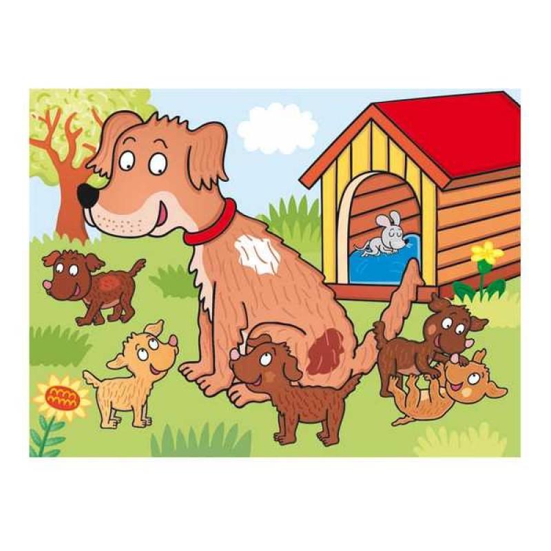 Dino Dřevěné obrázkové kostky domácí zvířátka 12 ks