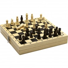 Jeujura Dřevěné šachy a dáma v boxu