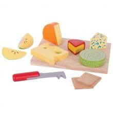 Bigjigs Toys Set dřevěých potravin sýry na desce