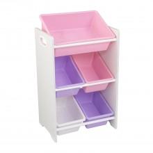 KidKraft Úložná police na hračky s 5 boxy růžový