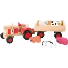 Small Foot Dřevěný traktor s vlečkou a zvířátky