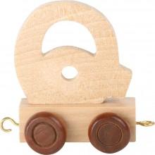 Dřevěný vláček vláčkodráhy abeceda písmeno Q