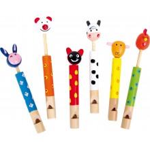 Dětská dřevěná píšťalka zvířátka 1ks