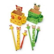 Dřevěný stojánek na tužky s příslušenstvím 1ks Kočka