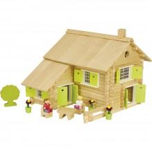 Jeujura Dřevěná stavebnice 240 dílků velký dům