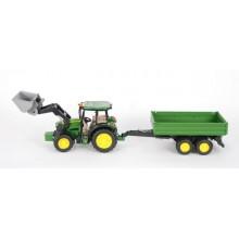 Bruder Traktor John Deere MS115 s přední lžící a valníkem