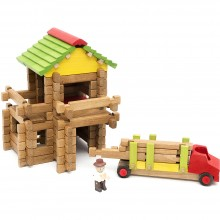 Jeujura Dřevěná stavebnice 94 dílků dřevařská pila s tahačem