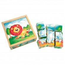 Bino Dřevěné hračky obrázkové kostky divoká zvířata 9 ks