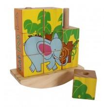 Dřevěné kostkové puzzle na tyči Slon Panda