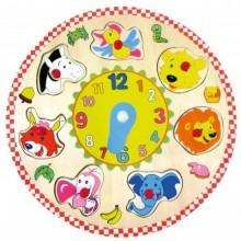Bino Dřevěné puzzle hodiny