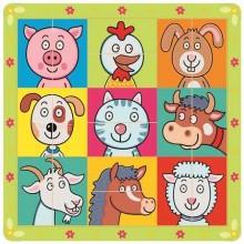 Bino Dřevěné puzzle zvířecí hlavičky