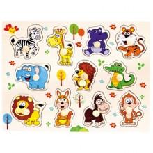 Bino Dřevěné puzzle safari 11dílků