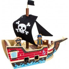 Small Foot Dřevěná stavebnice pirátská loď