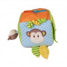 Bigjigs Baby Textilní aktivní kostka opička Cheeky