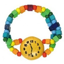 Dřevěné hračky - Dětský náramek hodinky duhové
